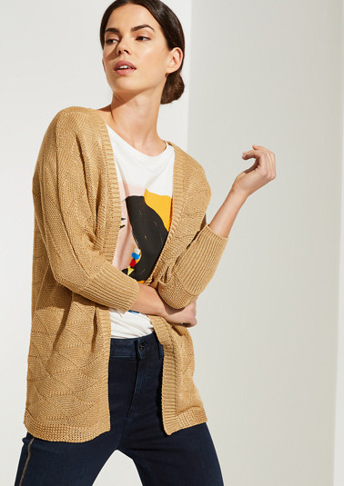 Long cardigan with a knit pattern from comma