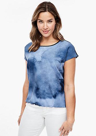 Blusenshirt mit Aquarell-Print