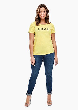 T-Shirt mit Schmuckperlen-Wording