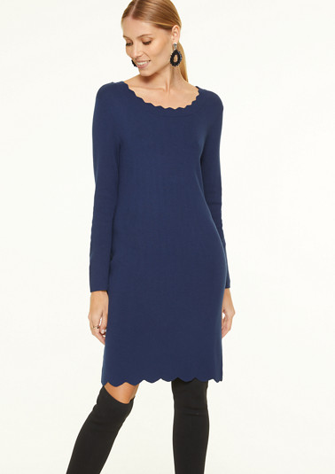 Knit dress with a scalloped edge from comma