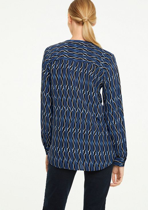 V-Neck-Bluse mit Musterprint