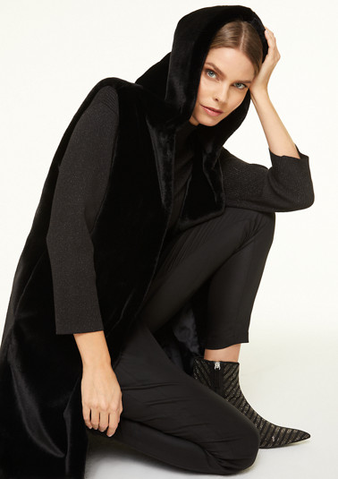 Long faux fur bodywarmer with hood from comma