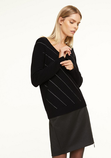 Fine knit jumper with Swarovski stones from comma