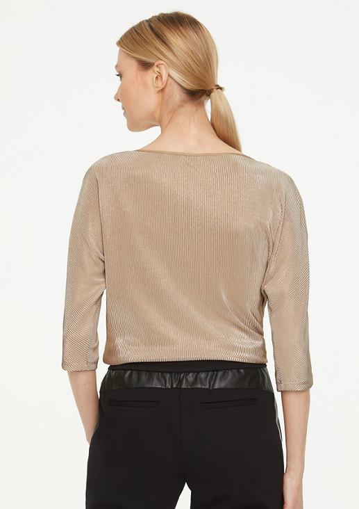 Schimmerndes Shirt mit Satin-Blende