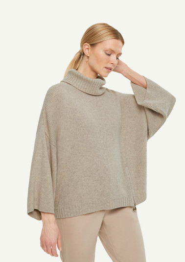 Oversized, blended wool poncho from comma