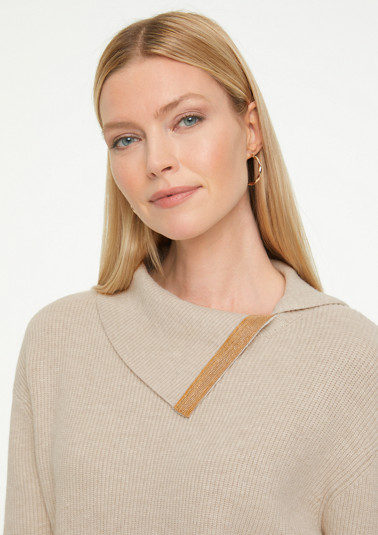 Jumper with embellished turn-down collar from comma