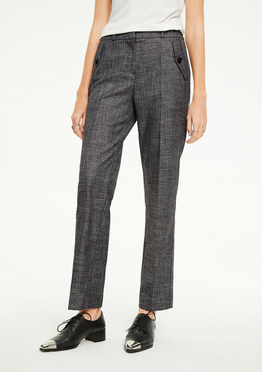 Regular Fit: trousers with glitter yarn from comma