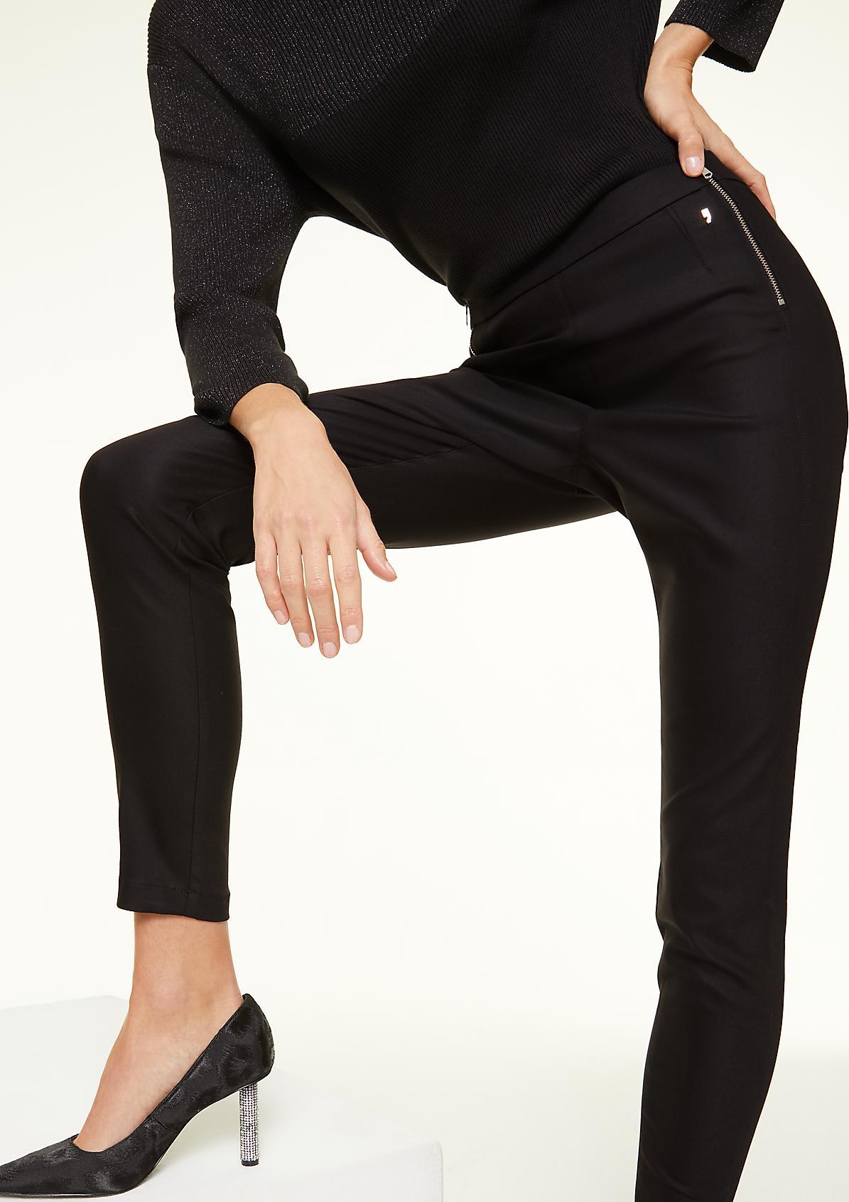 Skinny Fit: Hose mit Zipper-Details