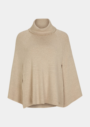 Poncho with embellished polo neck collar from comma