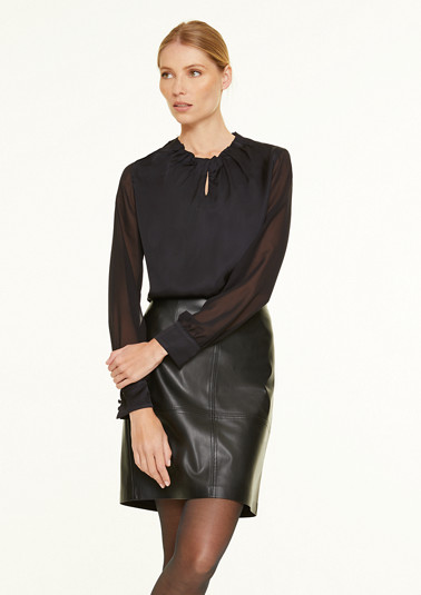 Satin blouse with chiffon sleeves from comma