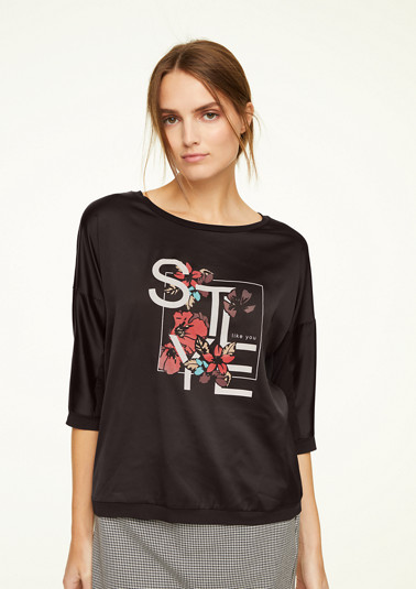 Fabricmix-Shirt mit Satin-Front