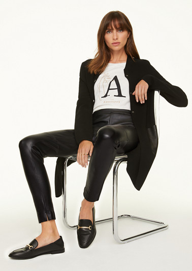 Skinny Fit: Leggings in Leder-Optik