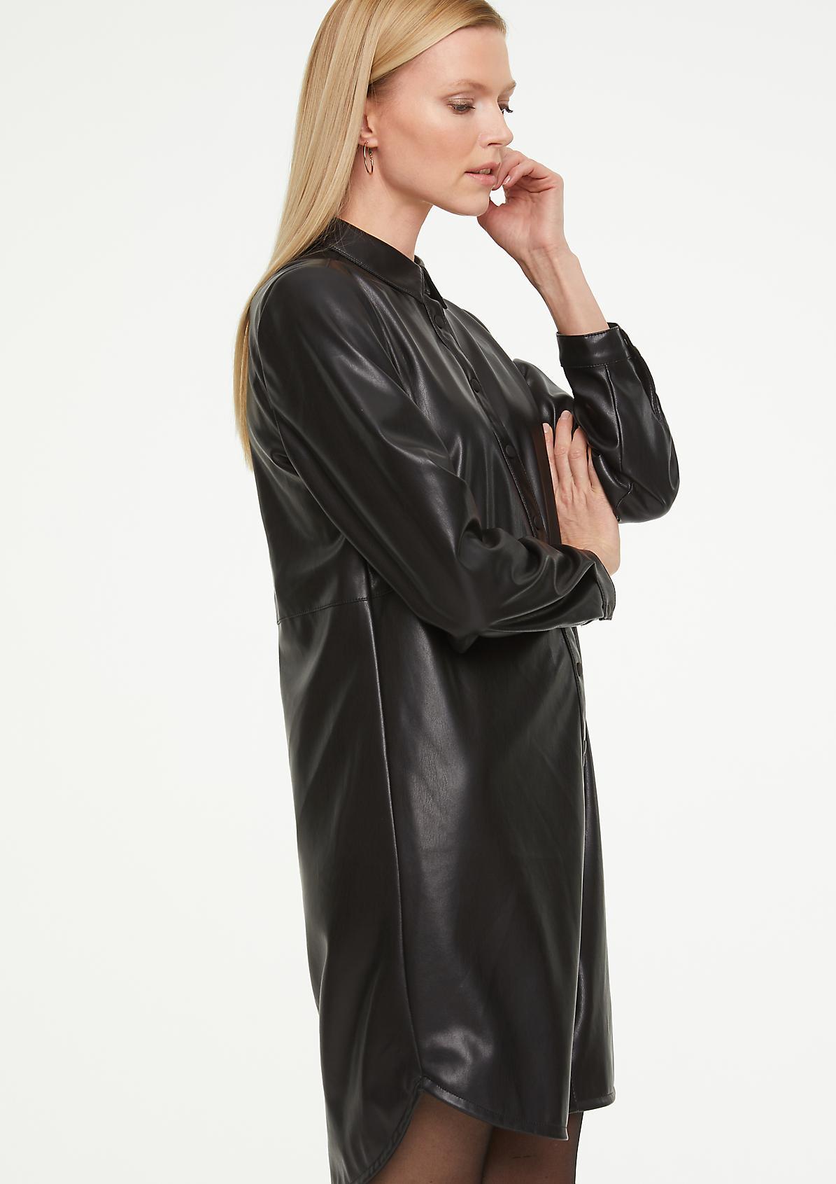 Hemdkleid in Leder-Optik