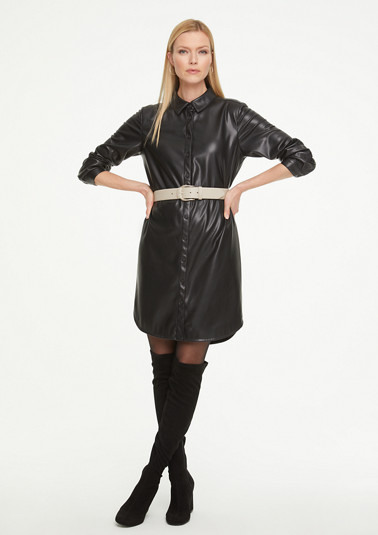 Hemdkleid in Leder-Optik
