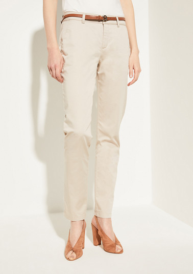Regular Fit: Cotton satin chinos from comma