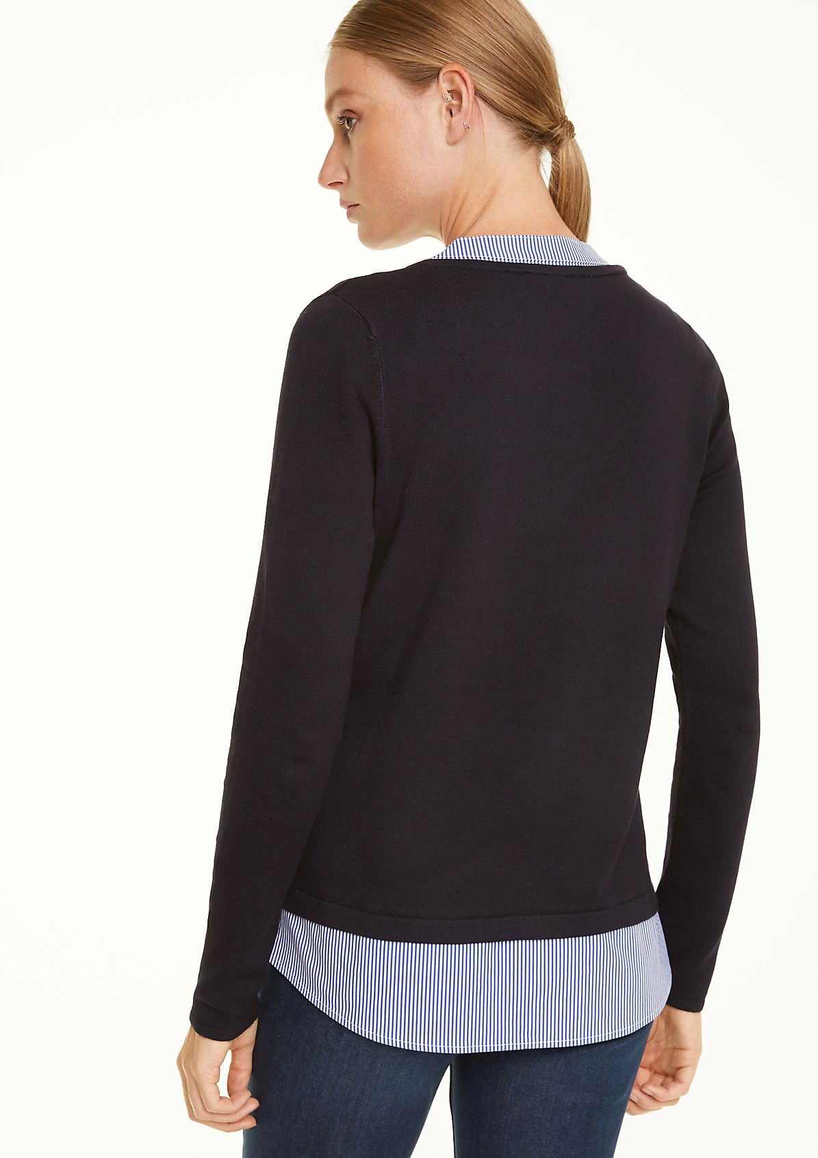 V-neck jumper with a layered effect from comma