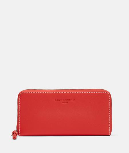 große Brieftasche mit Nähten in Kontrastfarbe