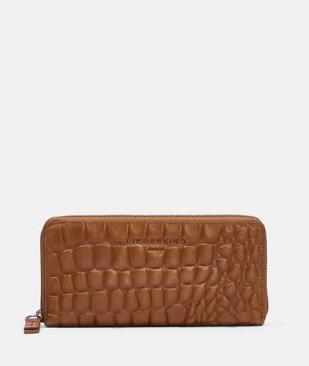 große Brieftasche mit Krokoprägung