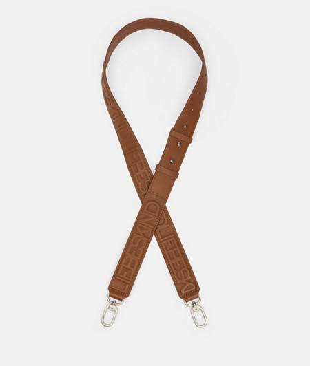 Wide leather shoulder strap with embossed logo monogram from liebeskind
