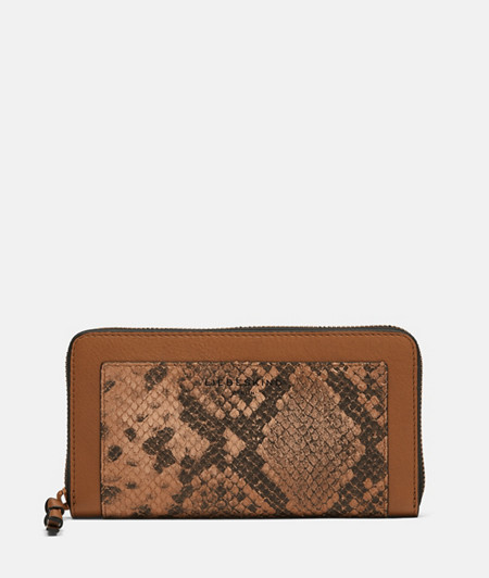 große Brieftasche mit Schlangenhautprägung