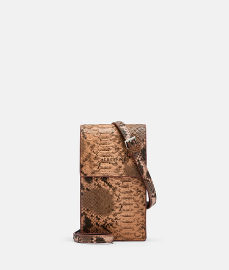 Phone bag with shoulder strap with snakeskin embossing from liebeskind