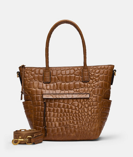 Leather tote bag with high-quality crocodile embossing from liebeskind