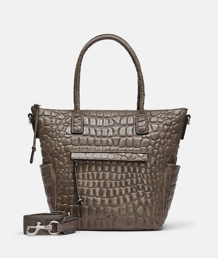 Tote Tasche aus Leder mit hochwertiger Krokoprägung