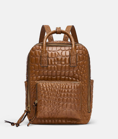 Business backpack with high-quality croc embossing from liebeskind