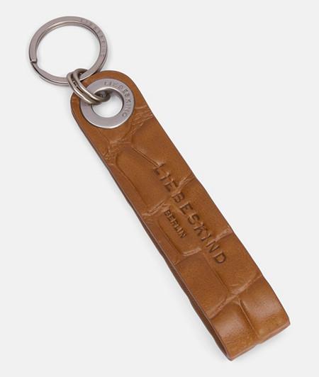 Schlüsselanhänger aus Leder mit hochwertiger Krokoprägung