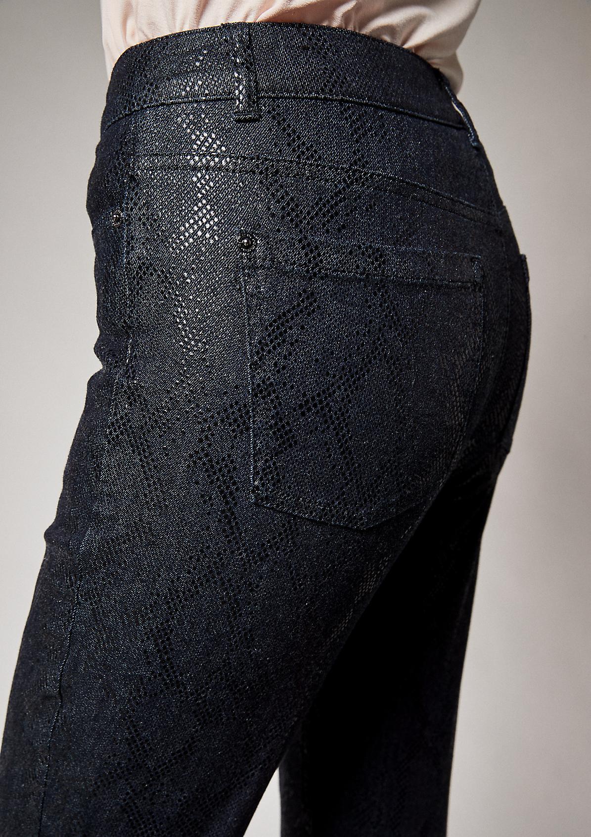 Slim Fit: Jeans in Snake-Optik