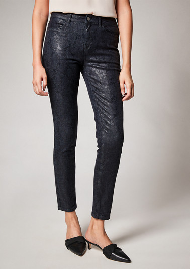 Slim fit: jeans with snakeskin pattern from comma