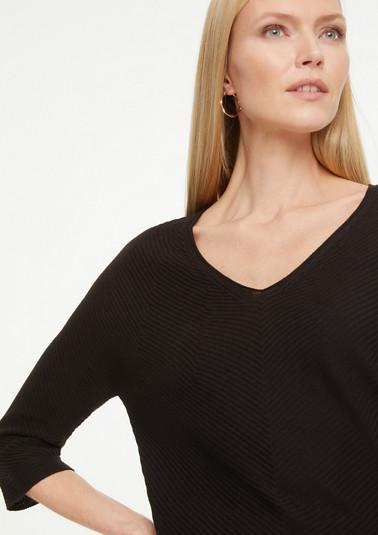 V-Neck-Pullover aus Strukturstrick