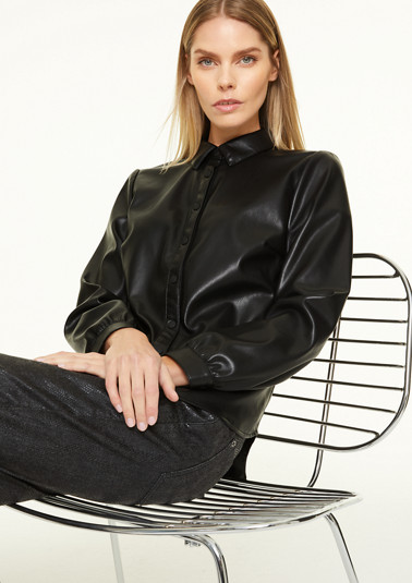 Faux leather shirt blouse from comma