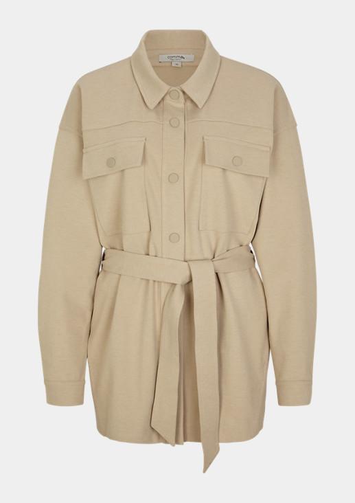 Langer Blusen-Blazer mit Gürtel
