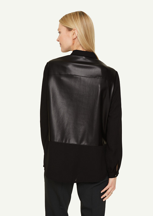 Bluse mit Fake Leather-Details