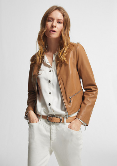 Zip-up jacket in nappa leather from comma