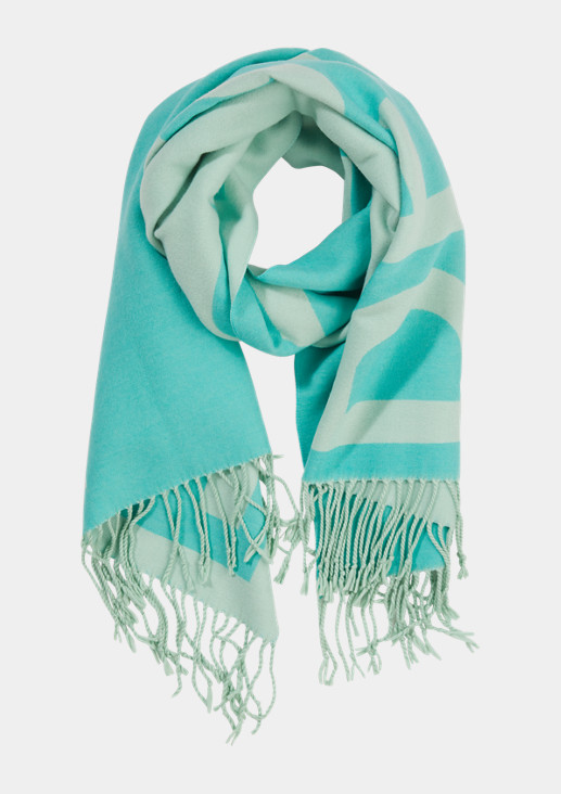 Double-faced scarf with lettering from comma