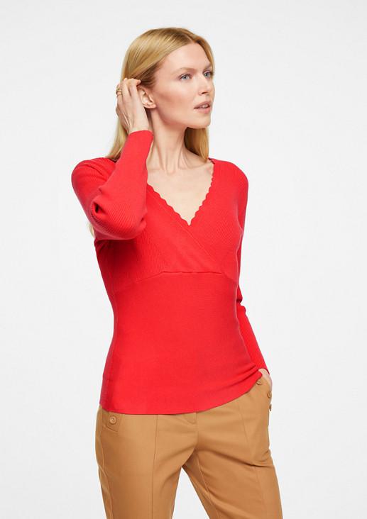 Pullover mit Muschelsaum-Ausschnitt