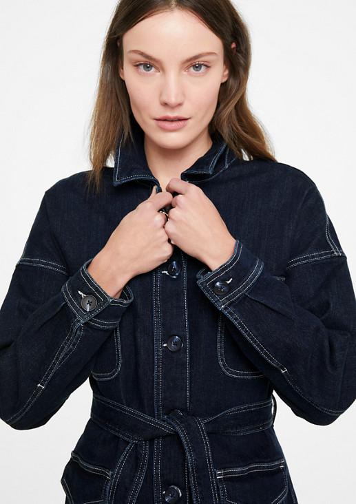 Jeansjacke mit Bindegürtel
