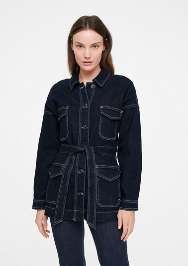 Denim jacket with a tie belt from comma