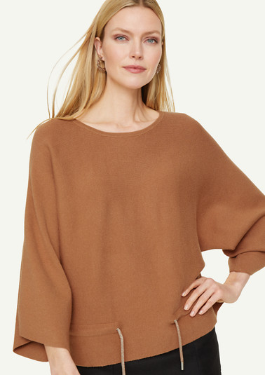 Fine knit poncho with drawstring ties from comma
