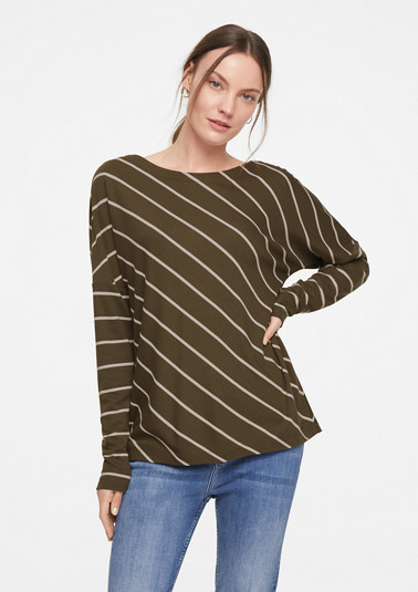 Jersey top with diagonal stripes from comma