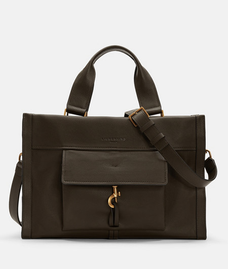Satchel bag with carabiner fastener from liebeskind