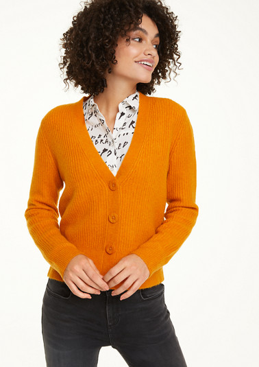 Rib knit cardigan with a percentage of wool from comma