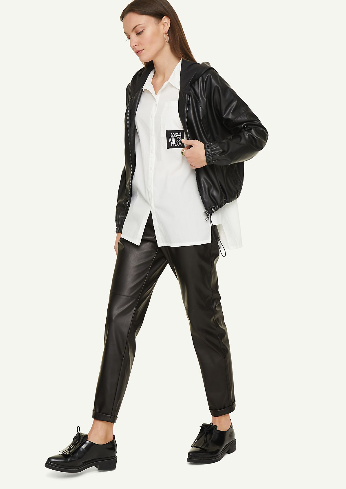 Regular Fit: faux leather trousers from comma