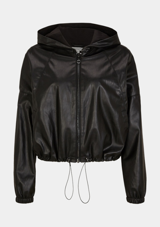 Faux leather jacket with a hood from comma