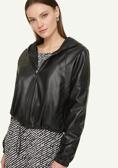 Fake Leather-Jacke mit Kapuze