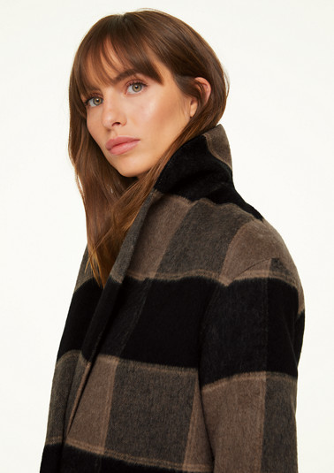 Coat with windowpane checks from comma