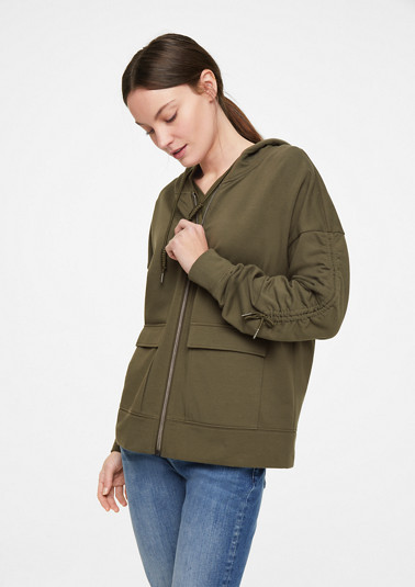 Sweatshirt jacket with gathers from comma