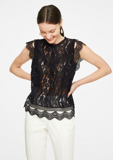 High-fastening lace blouse from comma